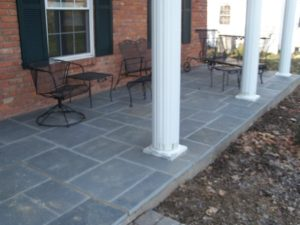 New brick and stone mortared paving installations